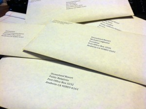 Here's the heap of letters I'm sending out to top Disneyland executives.  I hope that someone reads my letter and considers the need for improved training of City Hall cast members.